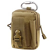 Compact Multi-Purpose Tactical MOLLE EDC Utility Gadget Pouch Tools Waist Bag Pack (Tan)
