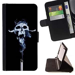 For LG G4 Stylus / G Stylo / LS770 H635 H630D H631 MS631 H635 H540 H630D H542 Case , Diseño Cráneo Humo- la tarjeta de Crédito Slots PU Funda de cuero Monedero caso cubierta de piel