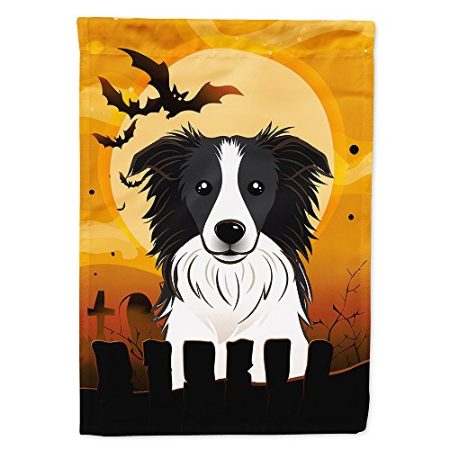 Halloween Border Collie (Caroline's Treasures BB1799GF Halloween Border Collie Garden Size Flag, Small,)