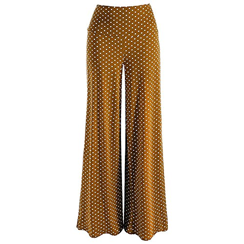 Creazrise Point Stretchy Dot Print Wide Leg Palazzo Lounge Tummy Control Pants for Women Bell Bottom Brown ()