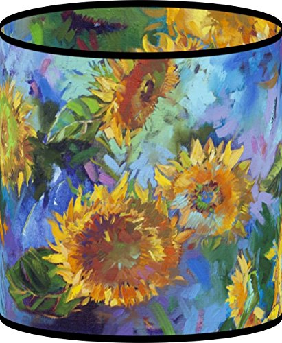 LampPix 10.5 Inch Custom Printed Table Desk Lamp Shade Sunflower Collage (Spider Fitting)