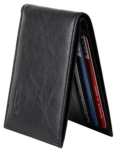 Chelmon Ultimate Slim Mini Wallet Front Pocket Minimalist Wallet Bifold Genuine Leather RFID Blocking (vintage black -