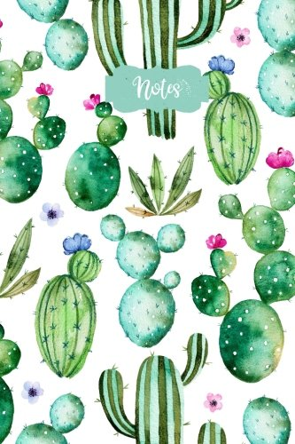 Notes: Flower Cactus 120 Blank Lined Page Softcover Notes Journal, College Ruled Composition Notebook, 6x9 Blank Line Watercolor Design Cover Note Book