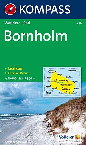 Bornholm: Wanderkarte mit Kurzführer, Radrouten und Stadtplan von Ronne. 1:50000