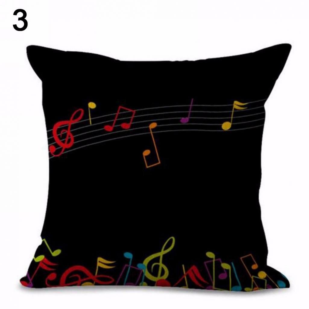 Hearsbeauty Fashion Throw Sofa Couch Pillow Case Home Decor Musical Notation Cushion Cover - 1