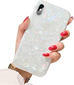 BOFTALE Cute Case for iPhone Xs Max, Girls Women Glitter Translucent Shell Pattern Design Clear Slim Soft TPU Silicone Cover Pretty Phone Case Compatible with iPhone Xs Max (Colorful)