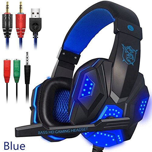 Ocamo Over Ear Gaming Headset with Mic and LED Light for Laptop Cellphone PS4 blue