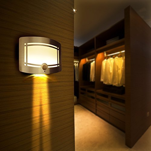Banwen Luxury Aluminum Bright Wireless Motion Sensor Activated Home LED Wall Night Light Stick Anywhere for Hallway Pathway Staircase Garden Wall Drive Way (Warm (Sconces Picture Lighting)