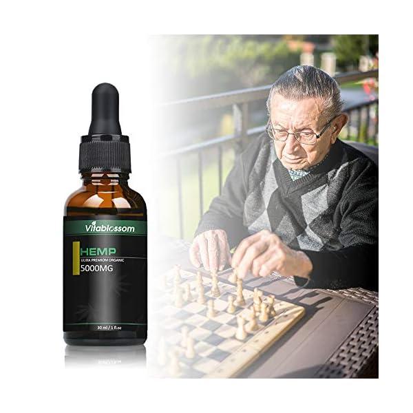 Vitablossom Organic Hemp Oil, Premium Powerful Formula, 100% Safe & Natural Ingredients (5000mg/30ml)
