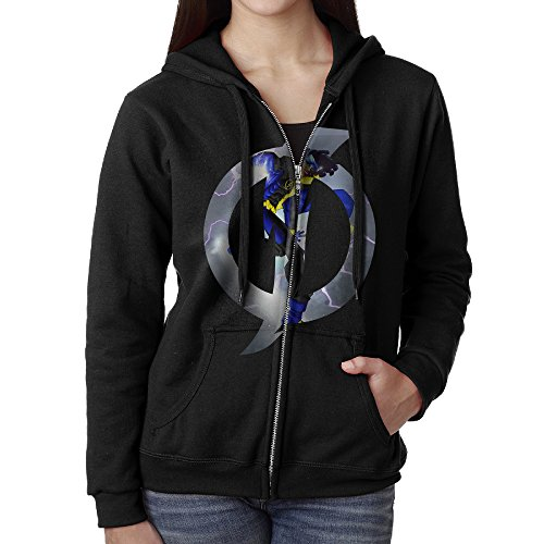 KOBT Women's Static Tv Poster Zip-Up Hoodie Jackets Black Size XL