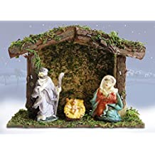 Miniature Nativity Scene with a Small 4-Inch Stable - Mary, Joseph and Baby Jesus – Holiday Tabletop Nativity Set