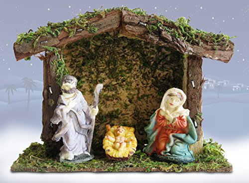 Miniature Nativity Scene with a Small 4-Inch Stable - Mary, Joseph and Baby Jesus – Holiday Tabletop Nativity - Small Nativity Stable