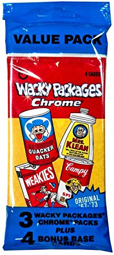 Topps 2014 Wacky Packages CHROME Trading Card VALUE PACK [3 Chrome Packs + 4 Base Cards]