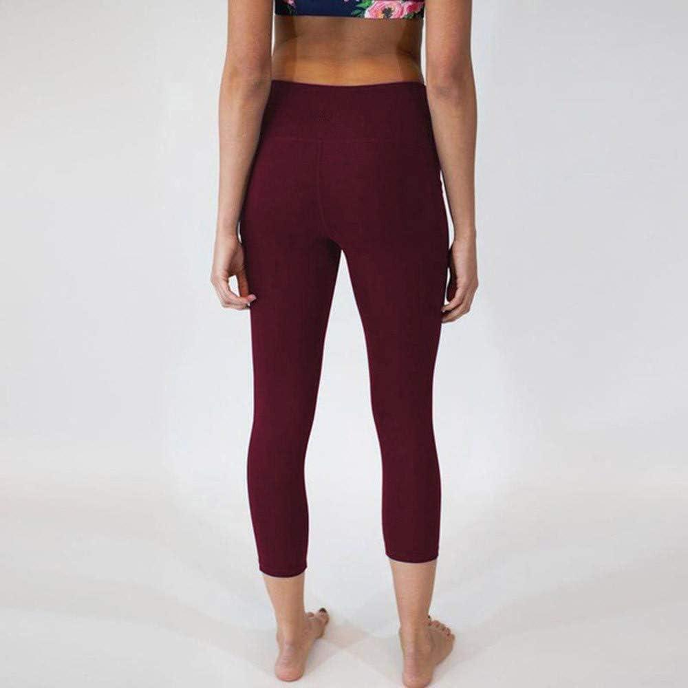 Yoga Calf-Length Pants Tummy Control Workout Running 4 Way Stretch Yoga Leggings Midi Waist Yoga Pants