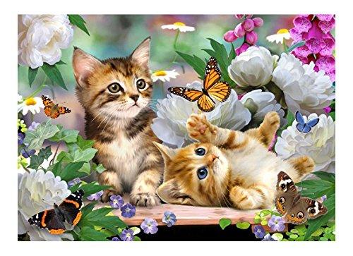Medium 30cm x 40cm Premium Glass Chopping Board - Two Kittens Garden Playtime Kitchen Worktop Saver Protector The Tuftop Company