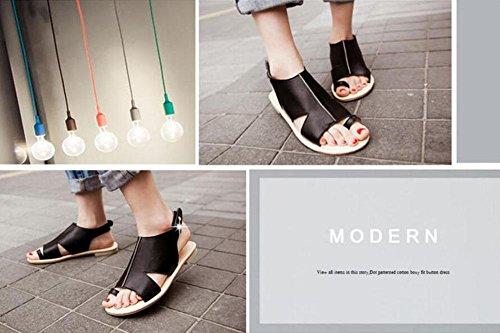 Summer Sandali Toe 40 43 Heel Heel Sandali 42 41 Black Slingback Toe Peep EqRwf5f