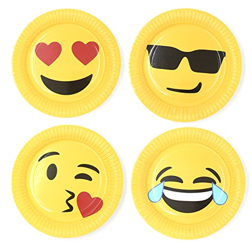 (HAZOULEN 40 Pack Emoji Party Paper Plates, 9 Inches)