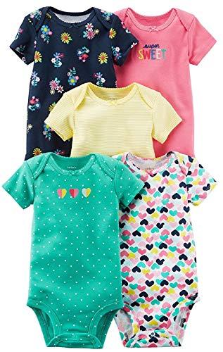 Carter's Baby Girls' 5 Pack Bodysuit (Super Sweet, 18 Months)