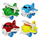 Yesorno Push And Go Friction Powered Toys Airplane Set for Toddlers Babies Boys Girls 1 2 3 Year Old/Inertia Toy Planes Vehicle 4 Pcs