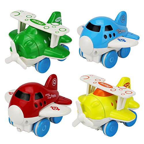 Yesorno Push And Go Friction Powered Toys Airplane Set for Toddlers Babies Boys Girls 1 2 3 Year Old/Inertia Toy Planes Vehicle 4 Pcs by Yesorno