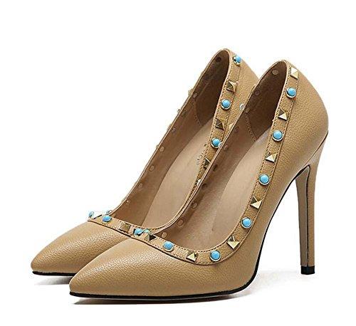 Encantador De 11cm De Bomba Onfly mujeres Trabajo Estilete de altos las Corte Scarpin Zapatos Zapatos Joya Cómodo De la Remaches apricot Ol tacones x7a7YqAw