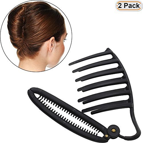 Hisight 2pcs Women Girls DIY Fast Styling Volume Insets Hair Clip Boost Comb French Twist Maker Fast Volume Twist Hair Boost Comb Hair Up Maker Tool Set (Black) (French Roll)