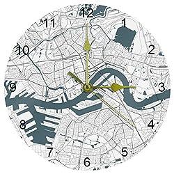 Luoweisi Map Rotterdam South Holland Netherlands Wall Clock Framless Non-Ticking Decor Wall Clock Round Acrylic Wall Clock