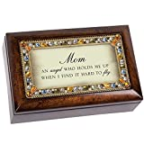 Cottage Garden Mom An Angel Jeweled Dark Wood Finish Jewelry Music Box - Plays Tune Wind Beneath My Wings