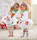 Touchme 2 In1 Baby Girl Clothes Kids Christmas Set T-shirt +Skirt Outfits for 0-4y (C, white)
