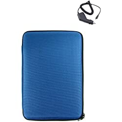 Kindle Cover for 2nd Generation Amazon Kindle + Car Charger for Kindle 2 (Blue Hard Cube)