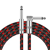 Amumu SW30 Standard Series Woven Instrument Cable Straight to Right Angle Black Red 10 Feet / 3 Meters