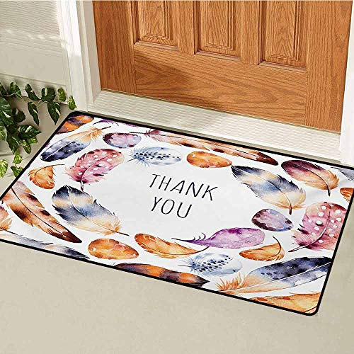 - GUUVOR Tribal Inlet Outdoor Door mat Bird Hawk Colored Feathers with Hand Written Thank You Note in The Middle Print Catch dust Snow and mud W15.7 x L23.6 Inch Multicolor
