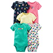 Carter's Baby Girls 5 Pack Bodysuit Set, Super Sweet/hearts, Newborn