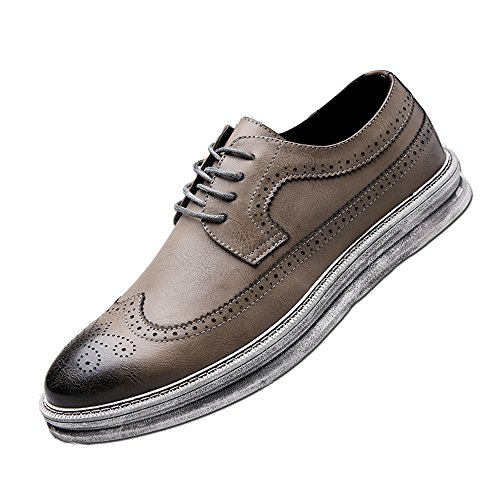 Mens Casual Fashion Leather Sneaker Wingtip Lace Oxford Dress Shoes