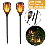 Fainyearn 2 Pack Solar Torch Lights 96 LED Wireless Flame Stake Lights Waterproof