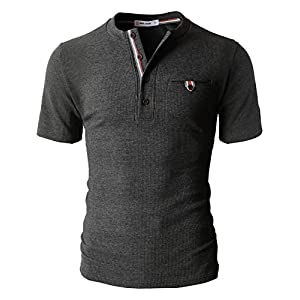 H2H Mens Casual Henley Slim Fit Short Sleeve Waffle Shirts With Bound Pocket Charcoal US L/Asia XL (CMTTS0147)