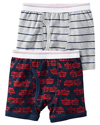 ' 2 Pack Cotton Boxer Briefs (2-3T, Fire Engine) (Cotton Fire Engine)