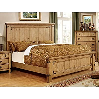 Furniture of America Sesco California King Panel Bed in Burnished Pine