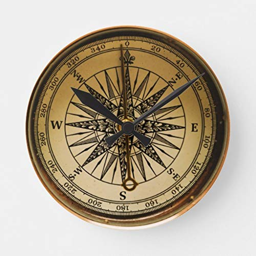 Moonluna Steampunk Nostalgic Old Brass Compass 10 inches Silent Wooden Wall Clock Home Decoration for Home Living Room Office