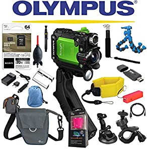 Olympus Stylus Tough TG-Tracker Wifi Action Camera (Green) + Sony 64GB MicroSDXC Card + Floating Strap + Flexpod + Case + Travel Charger + Battery + Suction Mount + Bike Mount + Selfie