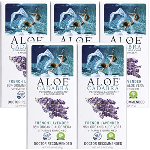 Aloe Cadabra 2-in-1 Organic Personal Lube and Best Natural Vaginal Moisturizer Lubricant for Relief of Itching, Buring and Dryness, French Lavender Scented Essential Oil, 2.5 Ounce (Pack of 5)