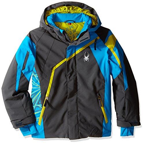 (Spyder Boys Challenger Jacket, Size 10, Polar/Electric Blue/Sulfur)
