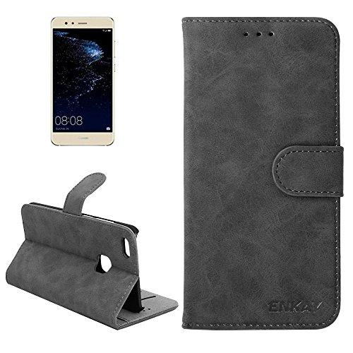 ZITEZHAI-Fashion case ENKAY Huawei P10 Lite Retro Velvet Senior PU + Plastic Bottom Case Horizontal Flip Leather Case with Holder & Card Slots (Color : Black)]()