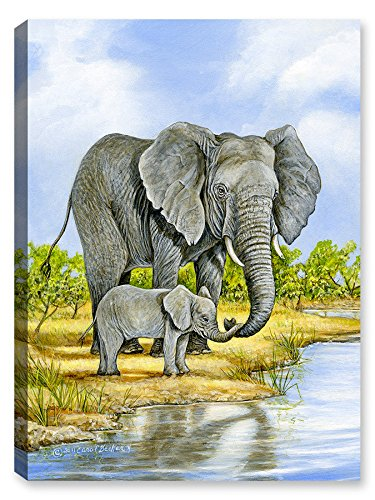 Amazon.com : Elephant and Baby - Painting-Outdoor Wall Art ...