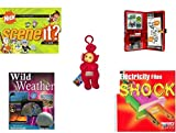 "Children's Gift Bundle - Ages 6-12 [5 Piece] - Scene It? Nickelodeon DVD Board Game - Star Wars Storm Trooper Sticker Activity Fun Play Set Toy - Teletubbies Plush Red Po With Hang Clip 8"" - Wild We"