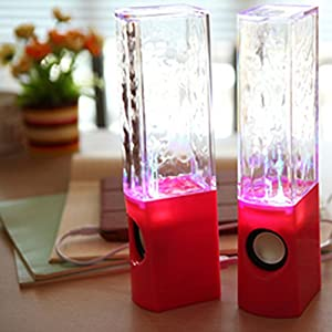 Aolyty Colorful LED Dancing Water Fountain Light Show Sound Speaker for iPhone iPad Laptops Smartphone Red