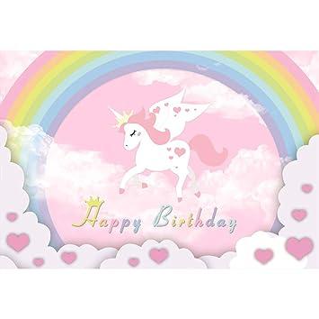 Cassisy 2,2x1,5m Vinilo Fondo de Fotografia Feliz cumpleaños Decoracion Bandera Unicornio de Dibujos Animados Arco Iris Copas Pared Telón de Fondo ...
