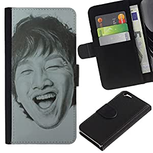 LASTONE PHONE CASE / Lujo Billetera de Cuero Caso del tirón Titular de la tarjeta Flip Carcasa Funda para Apple Iphone 6 4.7 / Portrait Man Laughing Teeth