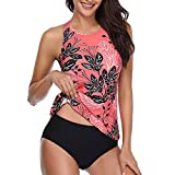 Women Floral Tankini Tummy Control Swimwear Tank Top Retro Printed Swimsuit with Boyshorts Two Piece Bathing Suit (S, Red)