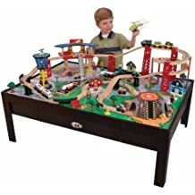 Kidkraft Airport Express Train Table (Espresso) - TABLE ONLY - Play ground for train set or Lego you can easy flip the play ground to a nice coffee table ( Espresso Color ). Solid wood Note: Game pieces are not included.